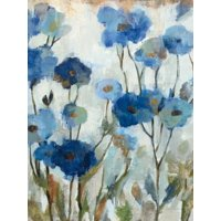 Abstracted Floral in Blue III Flower Painting Print Wall Art By Silvia Vassileva