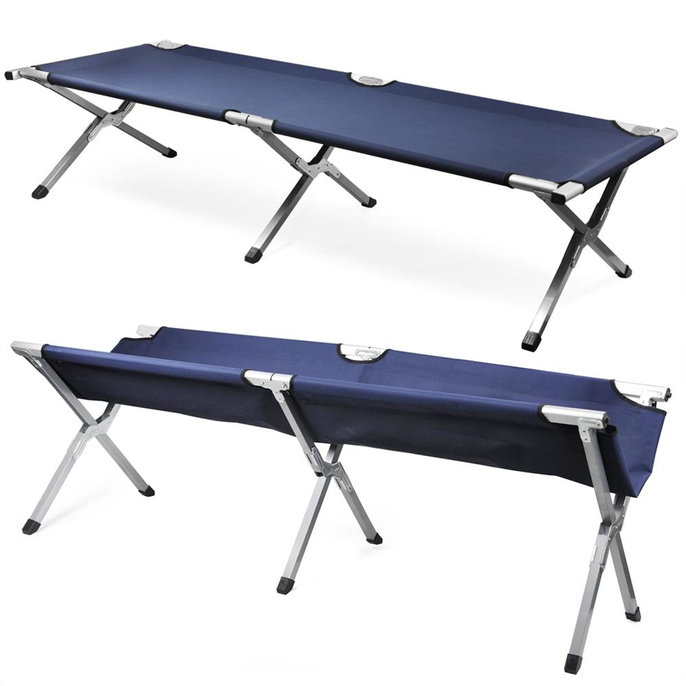 YaHeetech Single Aluminium Frame Folding Camp Bed Cot With Carry Bag,Max. Load: 200 lbs,Navy by Yaheetech