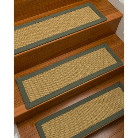 Natural Area Rugs  100% Natural Fiber Devon, Sisal Beige, Handmade Custom Stair Treads Carpet Set Of 8 (9