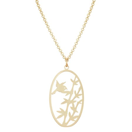 Isla Simone  Gold Plated Bird and Bamboo Cut Out Oval Pendant Necklace