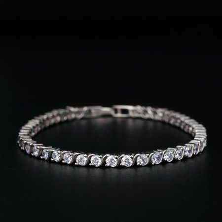 S Shape 2 Carat Round Cut Diamond Line Tennis Bracelet in 18k Gold Over Silver