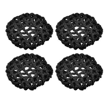Unique Bargains 4 Pcs Nylon Elastic Band Snood Ballet Bun Hair Cover Net Ornament Hotel Waitress Black