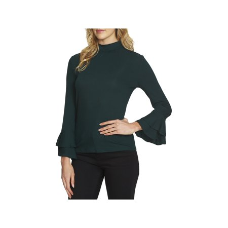 Lurex Mock Neck Sweater (1.State Womens The Curator Ruffled-Sleeve Ribbed Knit Mock Turtleneck Sweater )
