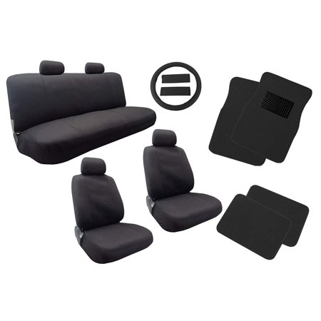 Classic Cloth Polyester Seat Covers Floor Mats Set Solid Black 13pc Set Front Pair Bench Steering Wheel Cover and Pads For Volkswagen VW (Passat Steering Wheel)