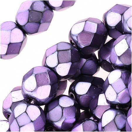 - Czech Fire Polished Glass Beads 6mm Round Full Pearlized - Lilac On Jet (25)