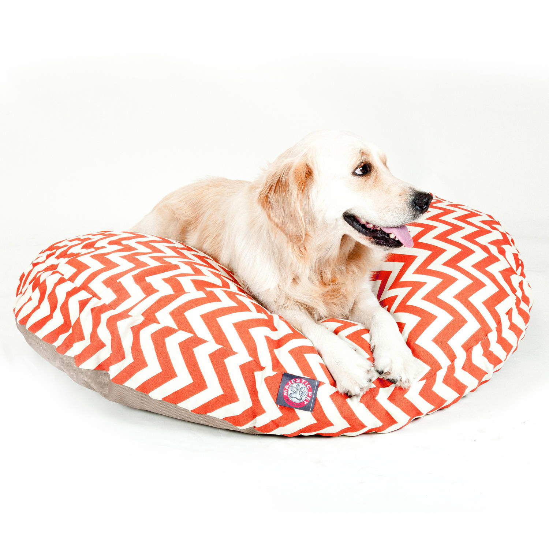 Majestic Pet Products Chevron Round Pet Bed, Burnt Orange