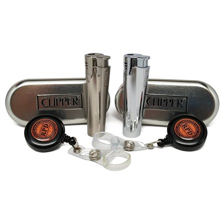 Bundle - 4 Items - 2 Clipper Metal Jet Flame Torch Lighters (1 Shiny, 1 Brushed) with 2 RPD Lighter Lassos