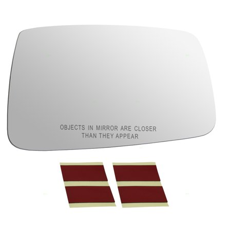 Passengers Side View Manual Mirror Glass w/ Adhesive Strips Replacement for 09-10 Dodge Ram 11-18 RAM Pickup Truck 68050296AA
