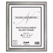 """8.5"""" x 11"""" Antique Silver Faux Wood Frame, Silver"""