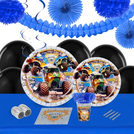 Monster Jam 3D 16-Guest Tableware and Decoration Kit