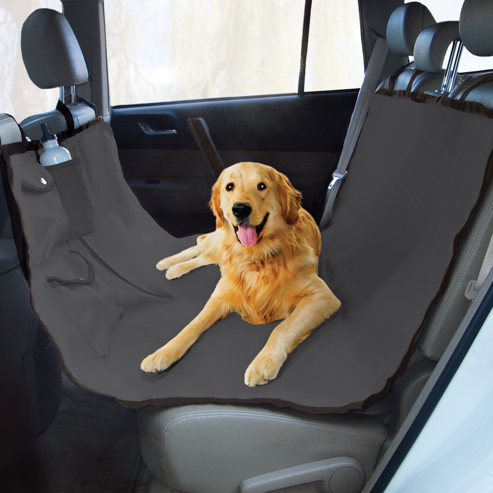 Waterproof Dog Car Seat Cover With 2 Door Covers Seatbelt Leash For Pets