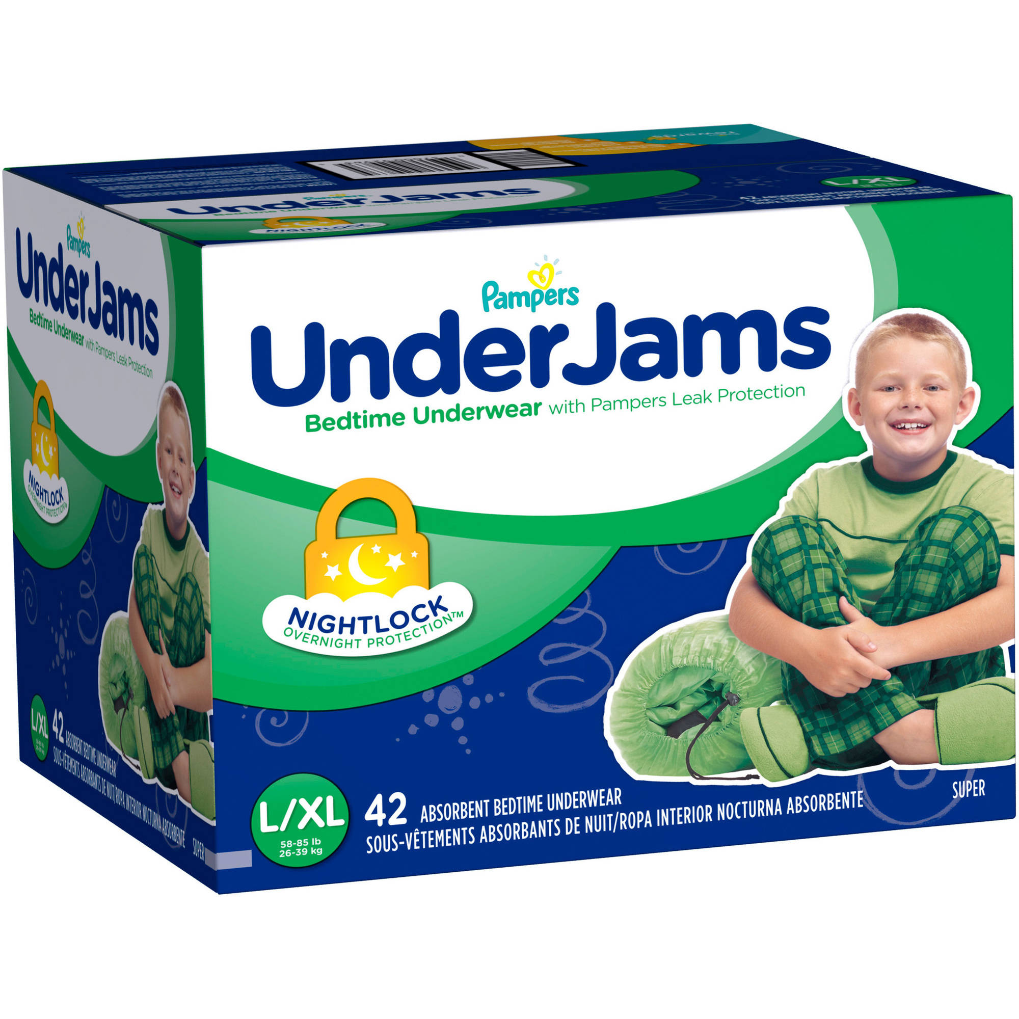 Pampers UnderJams Boys' Bedtime Underwear, Size L/XL (Choose Pant Count)