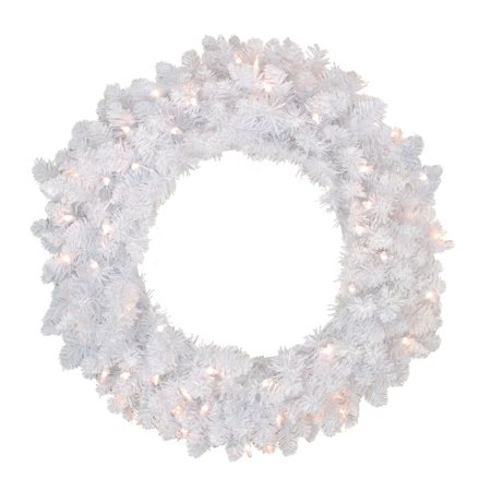 """Northlight 24"""" Prelit Flocked Snow White Artificial Christmas Wreath - Clear Lights"""
