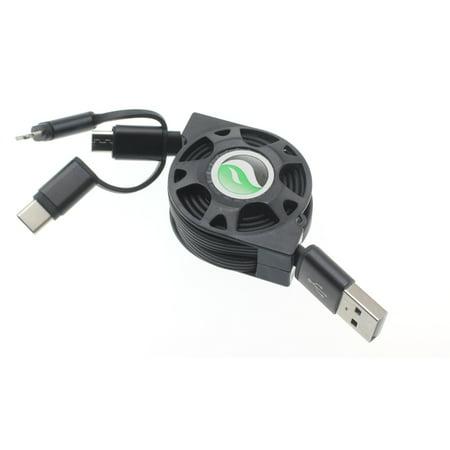Compatible With Samsung Galaxy S10e S10+ S10 - 3-in-1 Retractable USB Cable Y1R