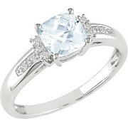4/5 Carat T.G.W. Cushion-Cut Aquamarine and Diamond-Accent 10kt White Gold Fashion Ring