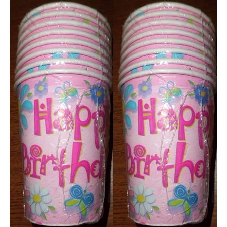 Happy Birthday Flowers Paper Cups Party Supplies 8 (8 Birthday Flowers)