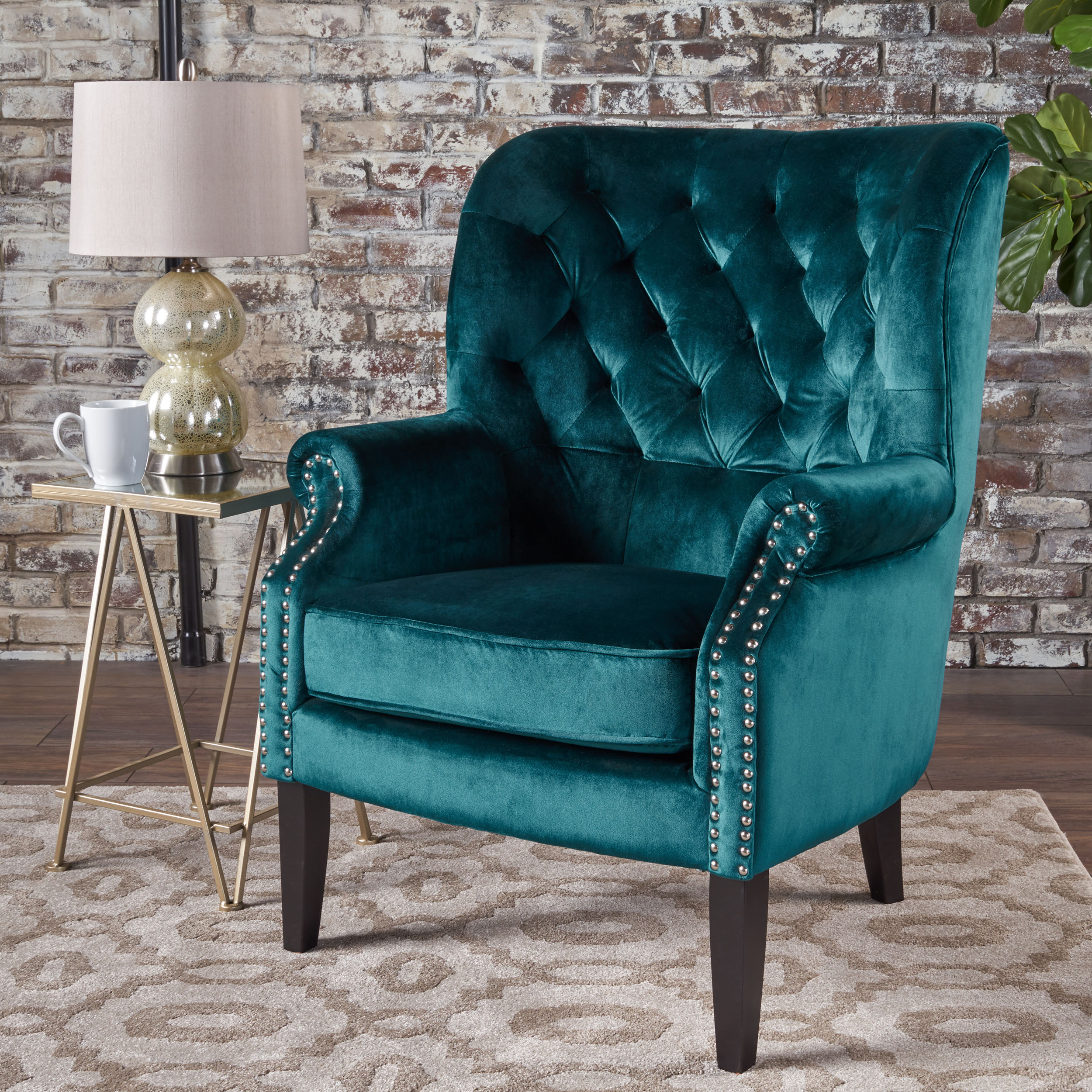 traditional teal velvet trim accent chair lounge living