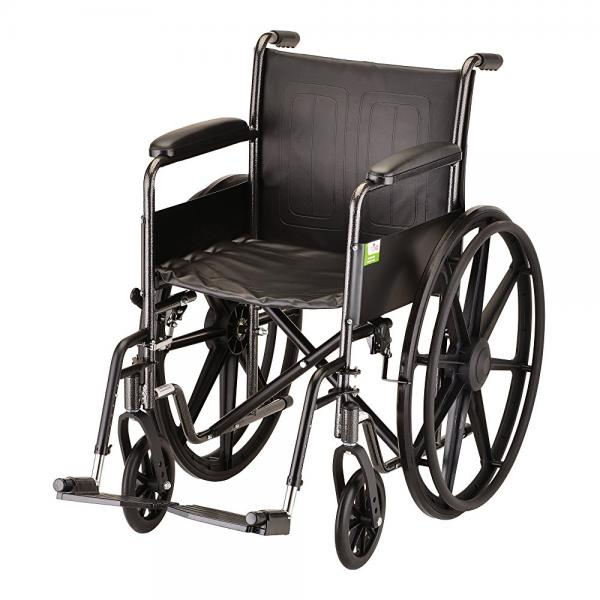 "NOVA Medical Products 18"" Steel Wheelchair with Fixed Arms and Footrests"