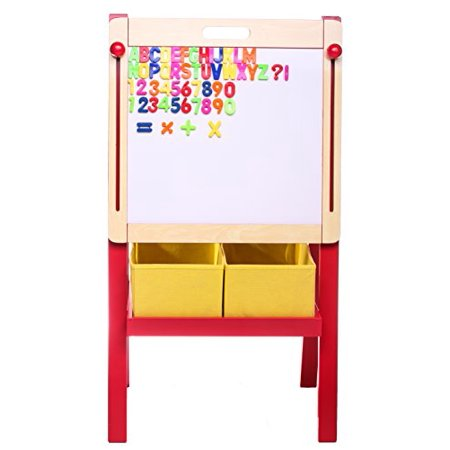 Whiteboard Stand - 3 in 1 Adjustable Art Easel w/ Magnetic Whiteboard & Blackboard, Dual Storage Bins and Magnetic Letters + Numbers