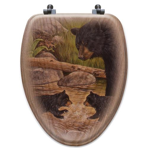 WGI-GALLERY Bear Creek Gang Oak Elongated Toilet Seat