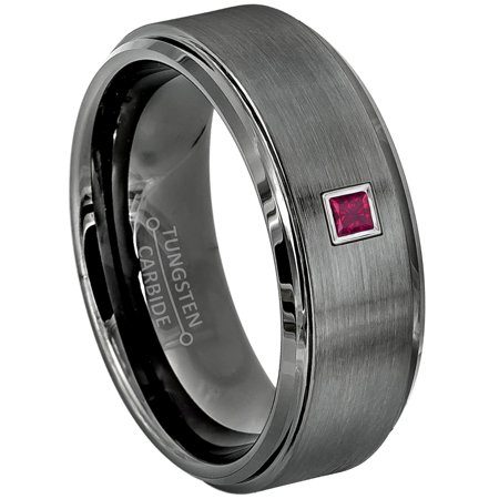 0.05ctw Princess Cut Ruby Tungsten Ring - 8MM Gunmetal (dark gray) Comfort Fit Tungsten Carbide Wedding Band - July Birthstone Ring - 14kt White Gold Bezel - TN616PS-1RBs12.5