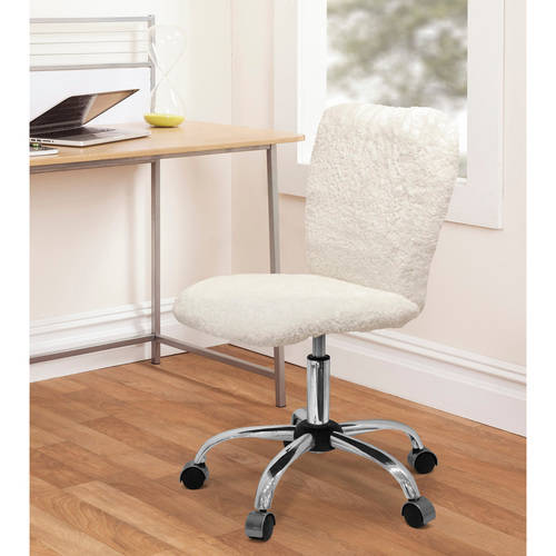 Urban Shop Faux Fur Armless Swivel Task Office Chair, Multiple Colors ()