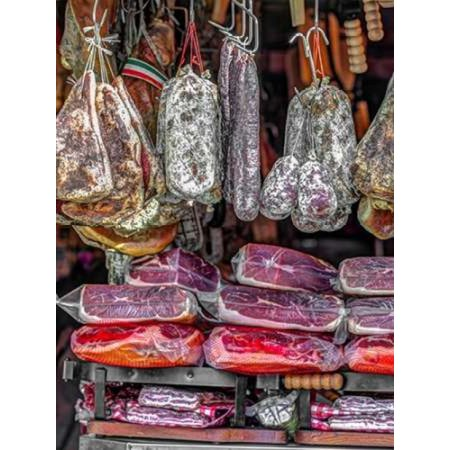 Various salami hanging in a window of an Italian Salami shop Rome Italy Poster Print by Assaf Frank (18 x 24)