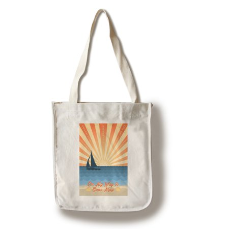 Rat Bag - Cape May, New Jersey - Beach Scene with Rays & Sailboat - Lantern Press Artwork (100% Cotton Tote Bag - Reusable)