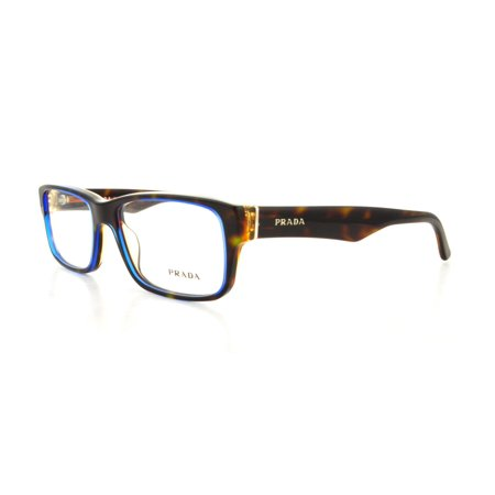 Prada 0PR 16MV Optical Full Rim Rectangle Unisex Eyeglasses - Size 53 (Denim / Clear (Best Prada Eyeglass Frames)