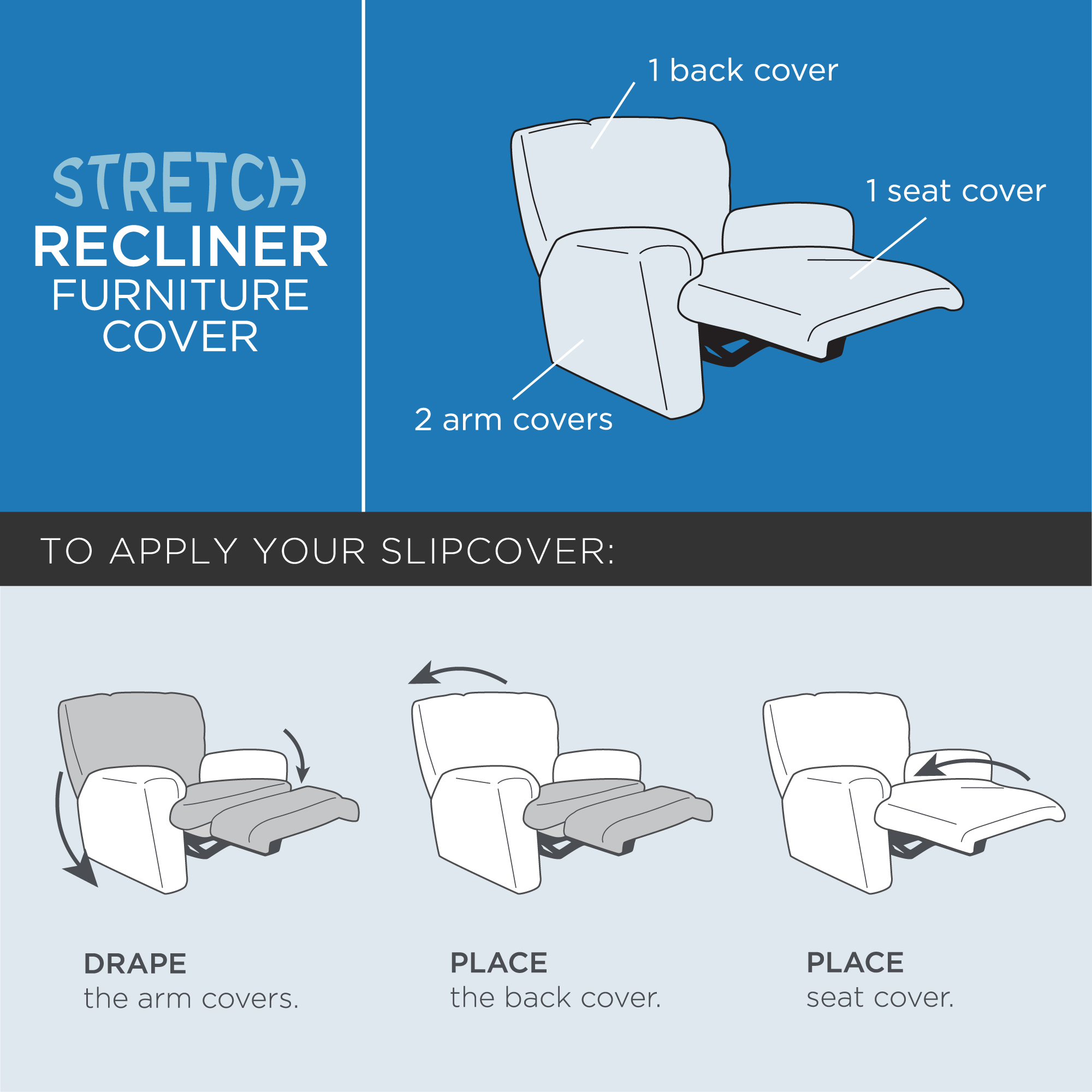 Mainstays Stretch Pixel 4   Piece Recliner Chair Furniture Cover /  Slipcover, Brownstone   Walmart.com