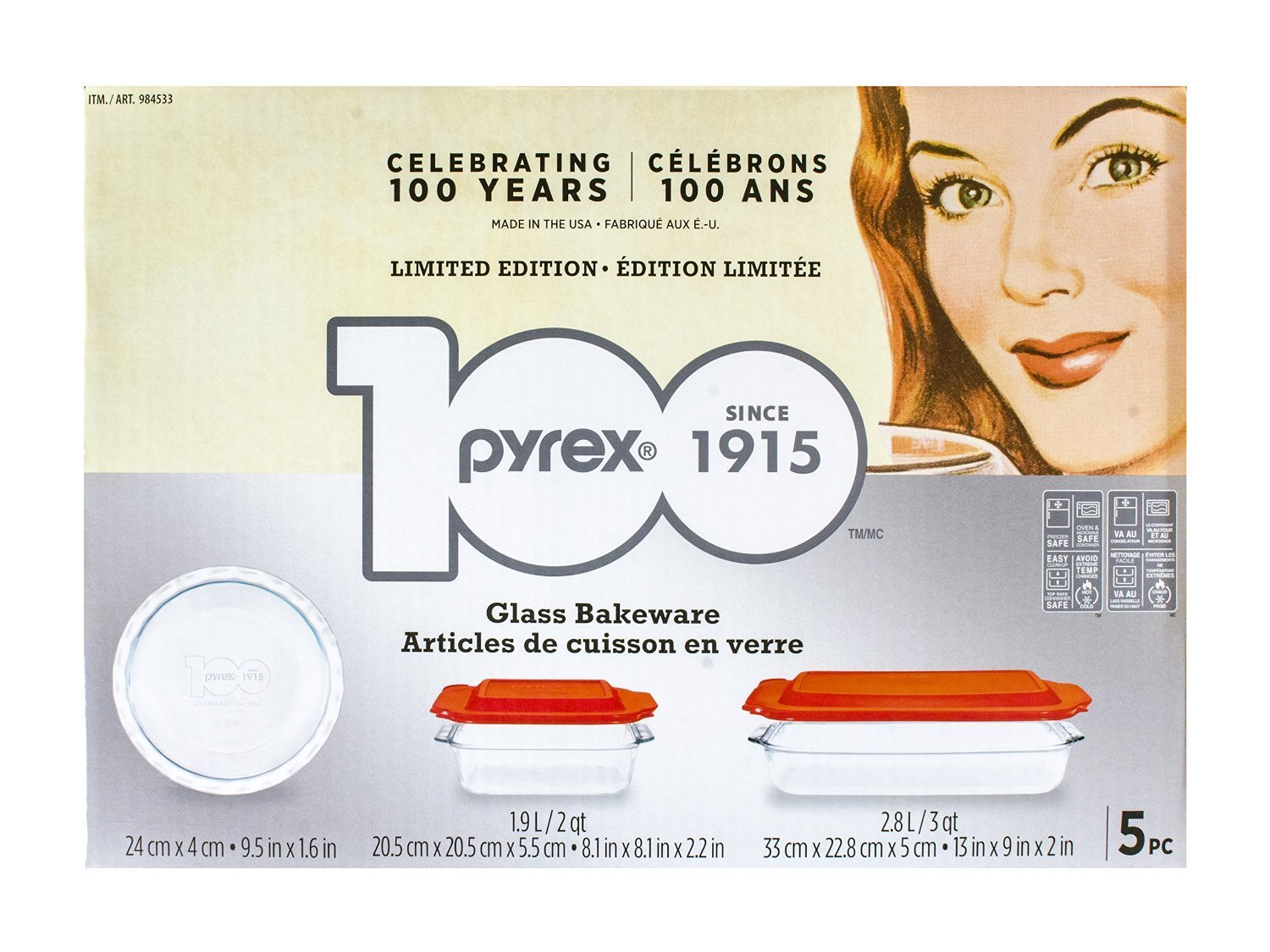 5-piece 100 Years Glass Bakeware Set (Limited Edition), Microwave, fridge, freezer & dishwasher safe By Pyrex... by