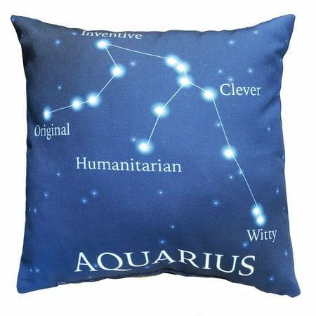 Horoscope Navy Blue Decorative Throw Pillow   Aquarius