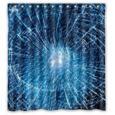 GreenDecor Best Blue Glass Broken Broken Glass Waterproof Shower Curtain Set with Hooks Bathroom Accessories Size 66x72