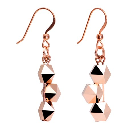 Copper Crystal Earrings - Body Candy Handcrafted Copper Plated Geometric Fishhook Earrings for Women Created with Swarovski Crystals