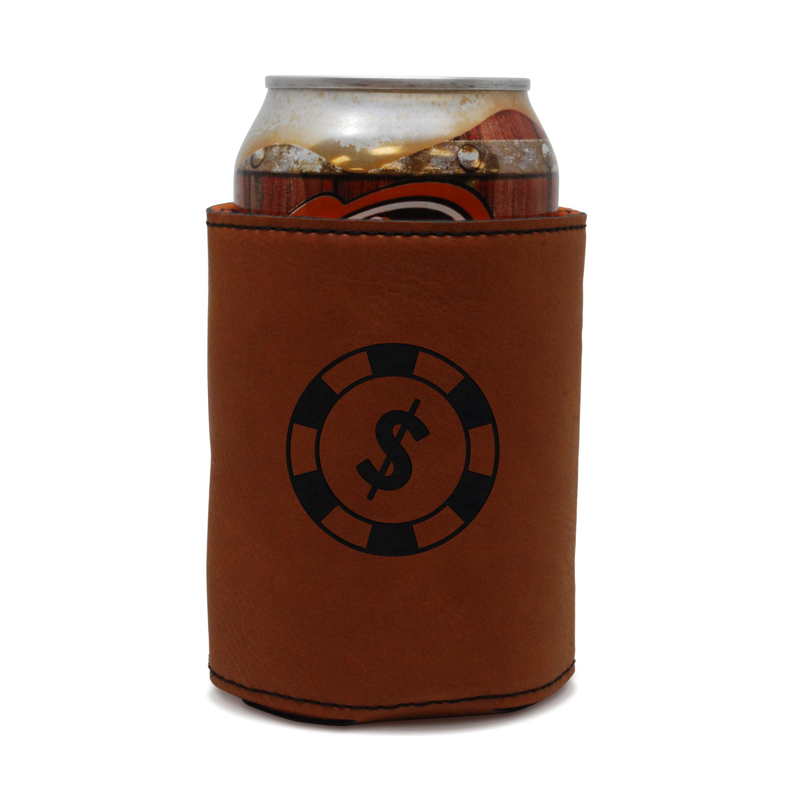 Poker Chip Leather Can Sleeve, Beer Sleeve, Beer Cooler, Beer Hugger by BigSpool Distributors