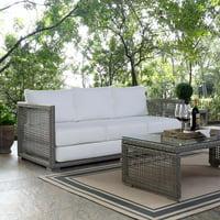 Modway Aura Outdoor Patio Wicker Rattan Sofa, Multiple Colors
