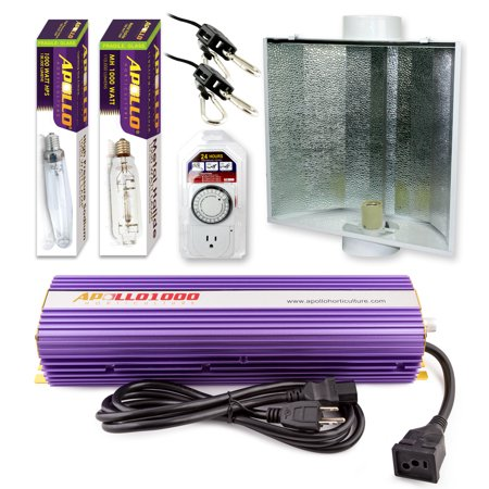 - Apollo Horticulture GLK1000LS24 1000 Watt Grow Light Digital Dimmable HPS MH System for Plants Air Cool Hood Set