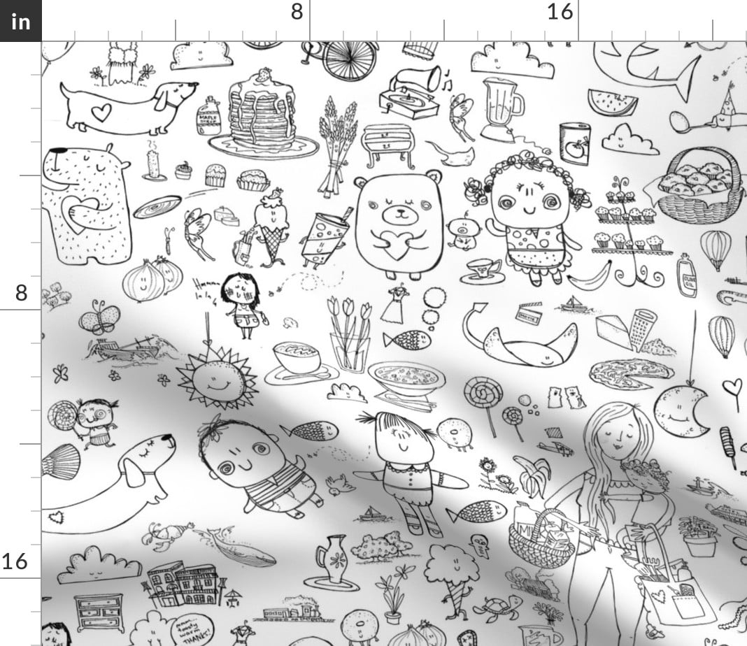 Whimsical Doodles Hipster Coloring Book Color Fabric Printed By Spoonflower Bty Walmart Com Walmart Com