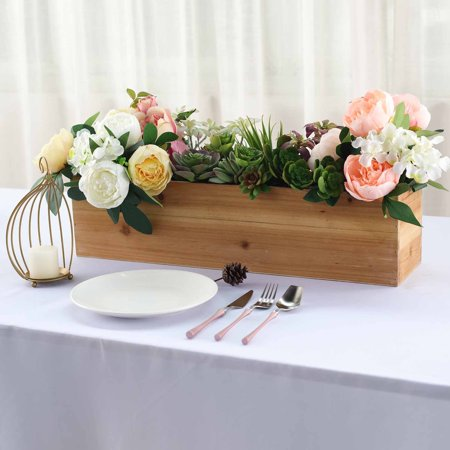Efavormart 24x6'' Natural Rectangle Wood Boxes DIY Rustic Wooden Planter Boxes With Plastic Liner For Wedding Party Decoration](Wood Planter Boxes)