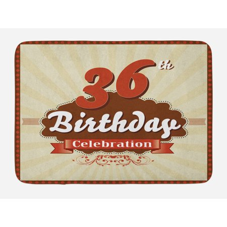 36th Birthday Bath Mat, Birthday Celebration Invite Chocolate Wrap Like Image Middle Age, Non-Slip Plush Mat Bathroom Kitchen Laundry Room Decor, 29.5 X 17.5 Inches, Cinnamon and Brown, (Chocolate Image Wrap)