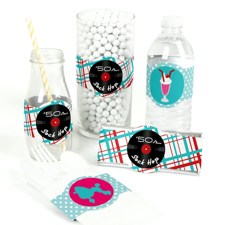 50's Sock Hop - DIY Party Supplies - 1950s Rock N Roll Party DIY Wrapper Favors & Decorations - Set of - Sock Party