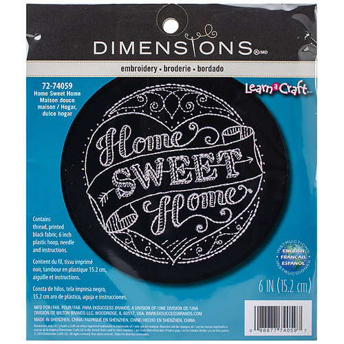 "Learn-A-Craft Home Sweet Home Stamped Embroidery Kit, 6"" Round, Stitched In Thread"