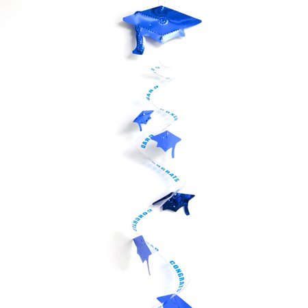 Beistle Congrats Grad Cap Twirly Decoration 30  Hanging Whirls  Blue  3 Pack