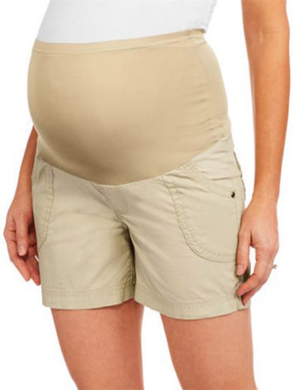 Women Comfy Full-Panel Woven Maternity Shorts