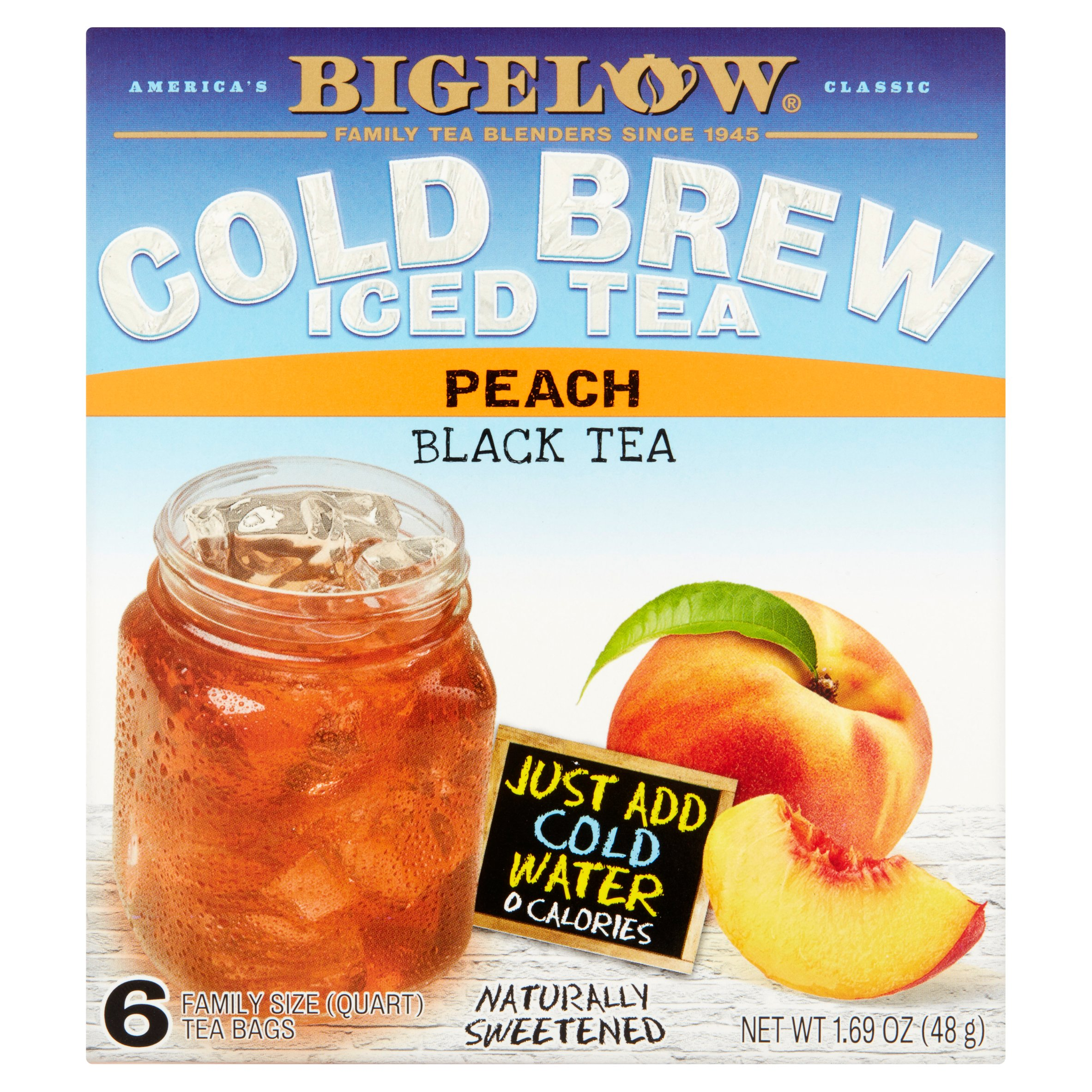 Bigelow Cold Brew Iced Black Tea, Peach, 1.69 Oz, 6 Count