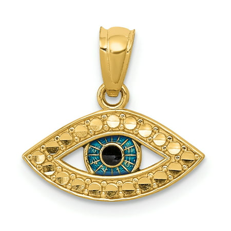 Fashion Italian Charm (14kt Yellow Gold Enameled Eye Pendant Charm Necklace Good Luck Italian Horn Fine Jewelry Ideal Gifts For Women Gift Set From Heart )