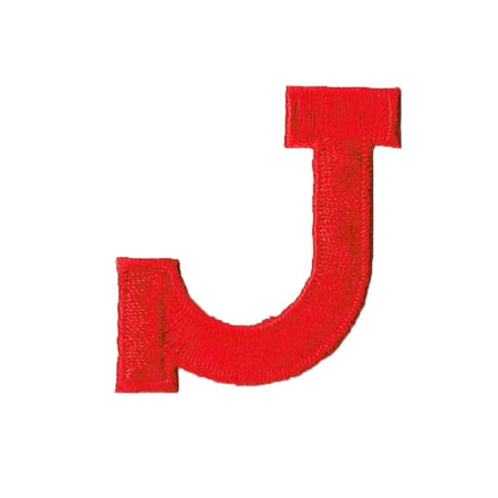 """Alphabet Letter - J - Color Red - 2"""" Block Style - Iron On Embroidered Applique Patch"""