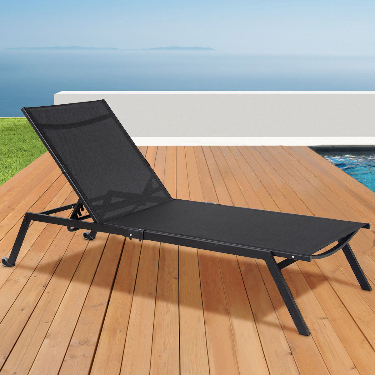 Costway Outdoor Patio Chaise Lounge Sling Armless Chaise Height Adjustable Black