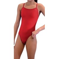 adoretex women's solid thin strap flyback swimsuit (fn034) - blue combo - 28