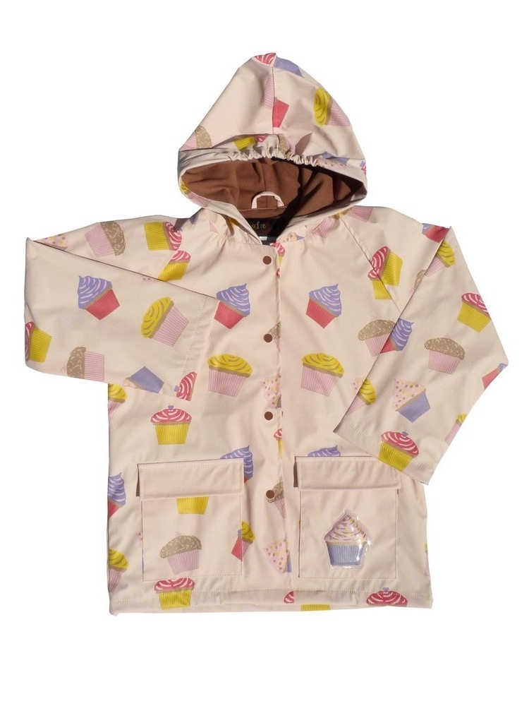 Little Girls Pink Cupcakes Galore Rain Coat 4T